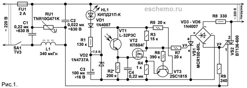 фототранзистора VT1