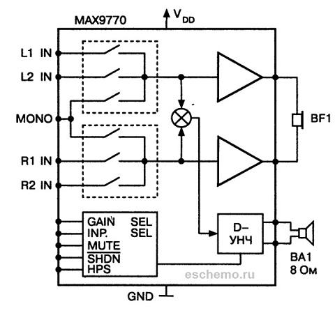 Строение микросхемы усилителя D-класса МАХ 9770. усилитель d класса микросхема МАХ9770.