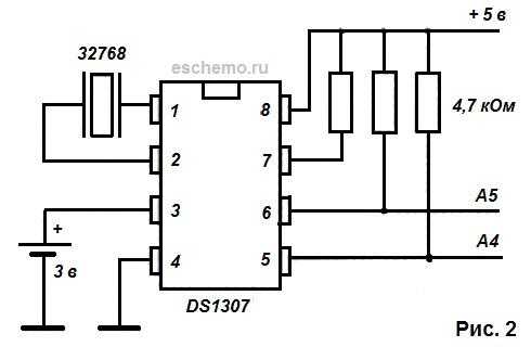 Чаще всего электронная схема часов реального времени содержит микросхему (собственно сами часы), часовой кварц...