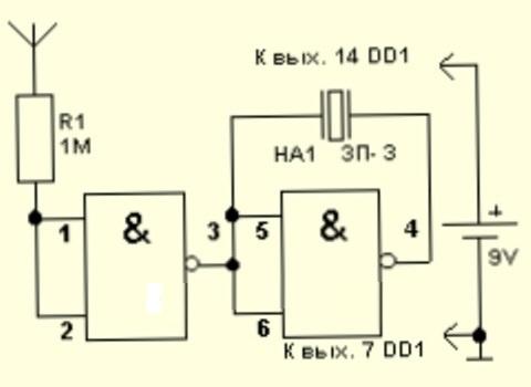 Cхема детектора проводки