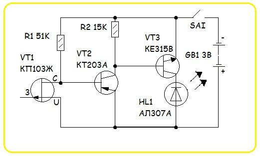 Электрическая схема сборки детектора обнаружения скрытой проводки